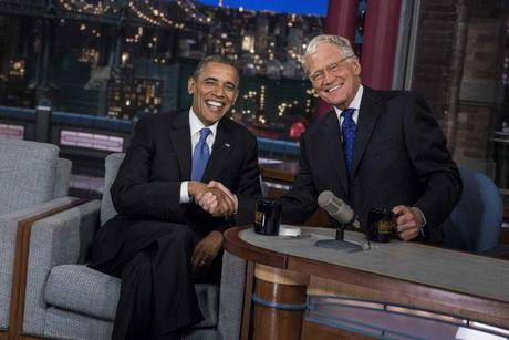 President Barack Obama spoke about Mitt Romney's controversial remarks with CNN's David Letterman at the Ed Sullivan Theater in New York on Sept. 18, 2012. Photo: Getty.