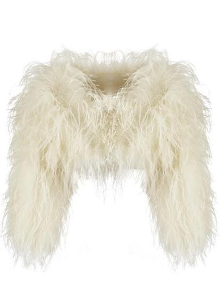 Alaska Ostrich Feather Wedding Jacket by Sasso