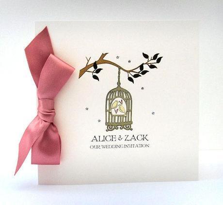 vintage birdcage wedding invitation