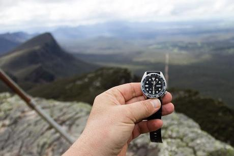 seiko 150m divers watch on mount abrupt summit