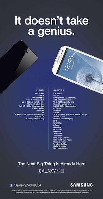 Previously we have seen that Samsung Mobile USA posted an ad that revealed the weaknesses of the iPhone 5, and shows the various advantages of the Samsung Galaxy S III.
