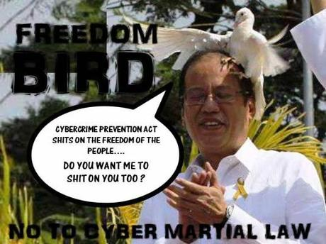 Freedom Bird Shits On PNoy : No To Cyber Martial Law