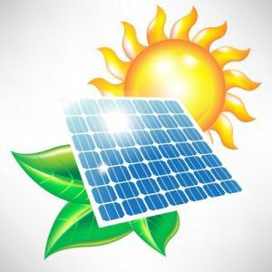 Solar Panel with Sun and Green Leaves