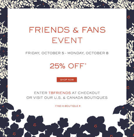 Tory burch 25 off promo code friends fans sale for Society 6 promo code
