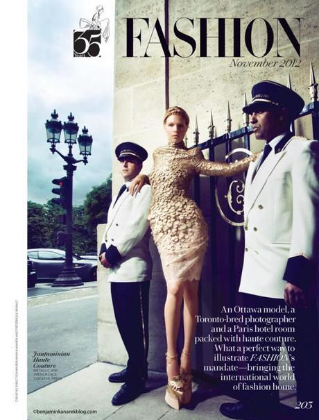 """A Canadian in Paris"", Amanda Nimmo in Haute Couture for Fashion Magazine by Benjamin Kanarek"