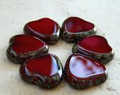 Czech Glass Heart Bead Oxblood Red Picasso 15mm : 6 pc - BobbiThisnThat