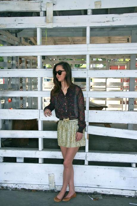 H&M Gold Sequin Skirt