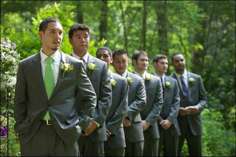 Wedding Attire Gray And Green
