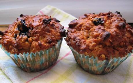 blueberry, apple oat muffins