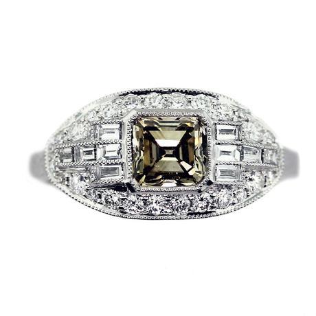 cognac diamond engagement ring, asscher cut engagement ring