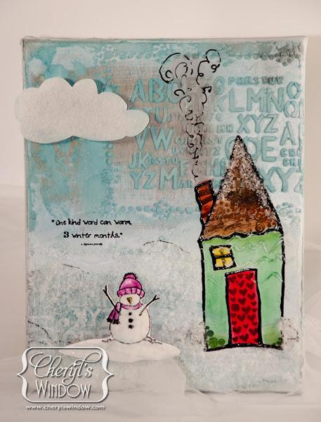 One Kind Snowman Mixed Media Canvas