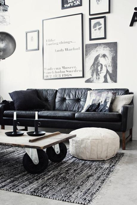 Black and white living room in Finland