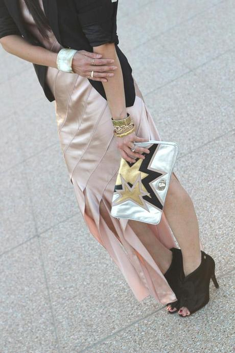 alexander wang streamer dress, bcbg mitra jacket, miu miu star clutch, chanel bowtie booties