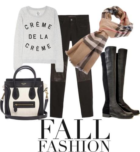My Fall Fashion Wish list is quite grand this year. Like I said it's a wish list. I absolutely love this Celine Handbag and black and white is so chic! Not to mention it will go with everything. I am absolutely in love with the leather trend this Fall, but I can't quite get a grip on wearing it head to toe… which is why these JBrand Jeans are perfect… {a little bit of leather makes it bearable!}.Over the knee boots are a fall staple for me time and time again… and since graphic t's are in this Zoe Karssen Sweatshirt is a knockout! What is on your Fall Wish List for 2012?   {Zoe Karssen Sweatshirt here, Celine Handbag, Burberry Scarf here, Stuart Weitzman 5050 Boot here, JBrand Jeans here}
