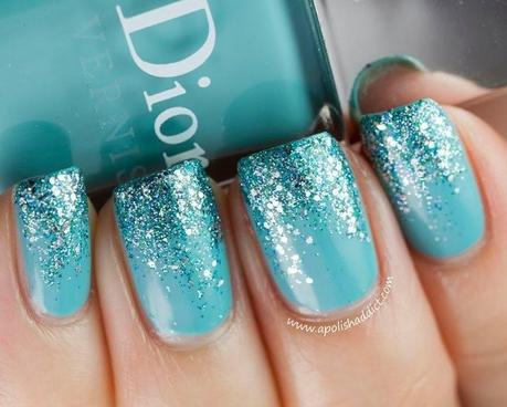 Color  Turquoise sparkle gradient nail color. So chic! What do you think?
