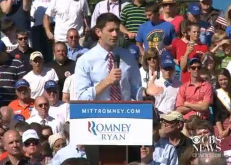 Vice-presidential candidate Paul Ryan criticized Barack Obama for not doing enough to help the economy. Photo: CBS News.