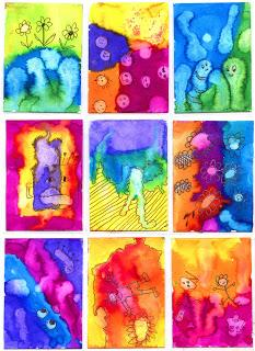 Crazy Watercolor ATCs