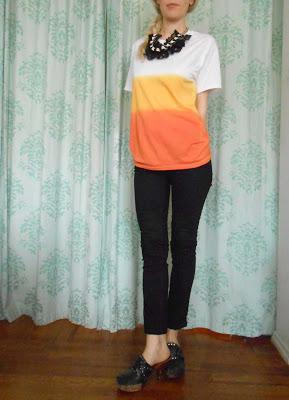 (Almost) Candy Corn Dip Dye T-Shirt
