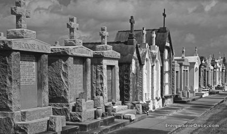 New Orleans Cemetery Mausoleums Black and White