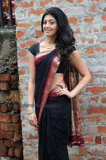 Pranita - Hot in Black Transparent Saree