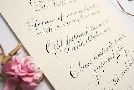 wedding menu in calligraphy