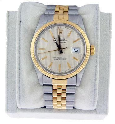 Rolex Gents Two Tone Datejust Tapestry Dial Watch