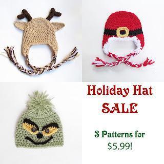 New Holiday Pattern Release: Reindeer, Santa & Grinch Hat