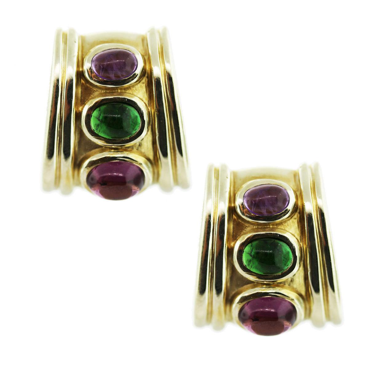14 Karat Yellow Gold, Pink/Green Tourmaline and Amethyst Wedge Earrings