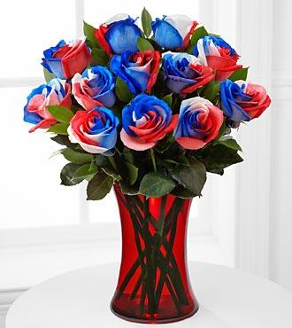Tie dyed roses in red white and blue or any color of the for Where can i buy rainbow roses in the uk