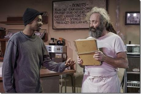Preston Tate, Jr. and Richard Cotovsky star in Mary-Arrchie Theatre Co.'s production of SUPERIOR DONUTS by Tracy Letts, directed by Matt Miller. Photo by Greg Rothman.