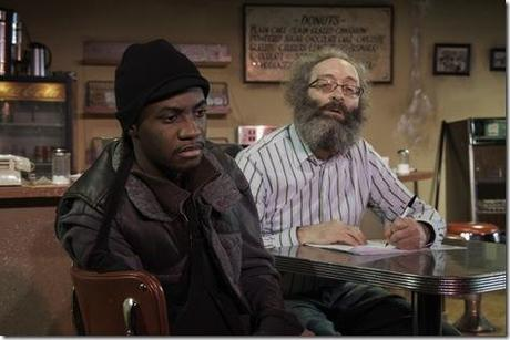 Preston Tate, Jr. and Richard Cotovsky in Mary-Arrchie Theatre Co.'s production of SUPERIOR DONUTS by Tracy Letts, directed by Matt Miller. Photo by Greg Rothman.