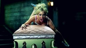 Tara Buck rides Pam's coffin as Ginger in HBO's True Blood