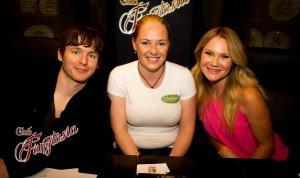 Marshall Allman (Tommy Mickens) and Tara Buck (Ginger) with TrueBloodNet writer Rachel Tsoumbakos at Club Fangtasia