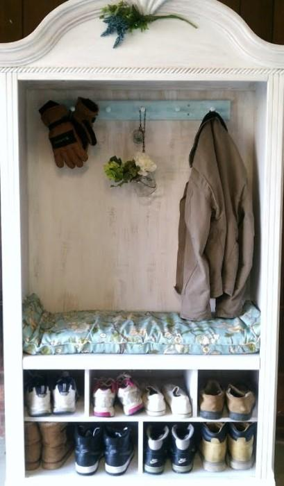 shoe and coat pinterest 409x700 5 Family Friendly Ways to Re Purpose an Armoire