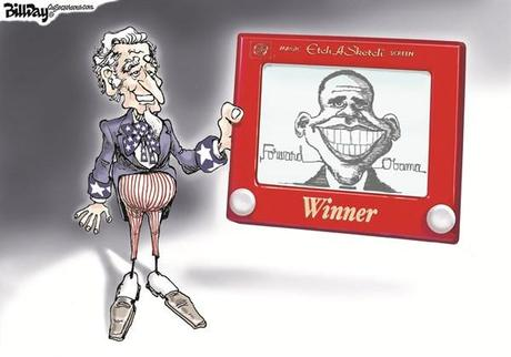 Bill Day - Cagle Cartoons - The Winner - English - Obama, election day, Uncle Sam, etch-a-sketch, vote