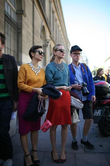 fabulous ladies on bicycles at paris couture week