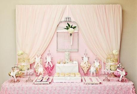 Pretty pink lovebird birdcage theme for wedding styled by - Idees decoration bapteme fille ...