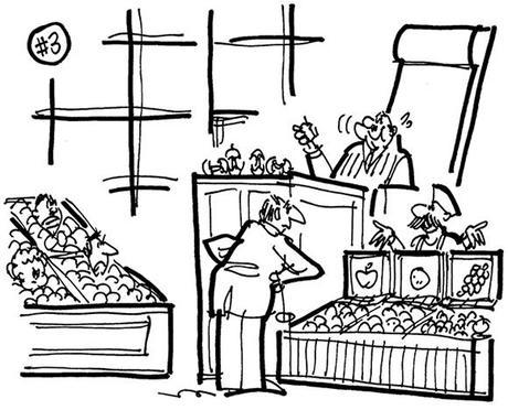 cartoon illustration about lawsuit involving Apple Computer and a Polish grocer's website domain name, grocer in witness box using computer screens as signs for his fruit bins, judge eating apples, jurors buried in fruit bins