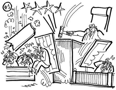 cartoon illustration for strange lawsuit involving windblown plywood that caused injury, judge slamming gavel causing panels of judge's bench to fly off and hit lawyer and witness, and ceiling to fall on jurors