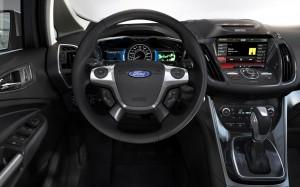 2013 Ford C-Max Hybrid inside - dash and steering wheel