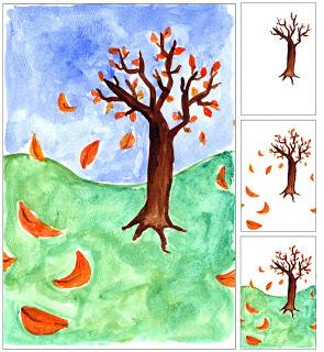 Fall Tree with Blowing Leaves
