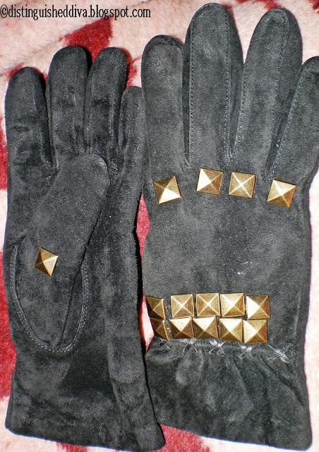 DIY: Spiked Leather gloves