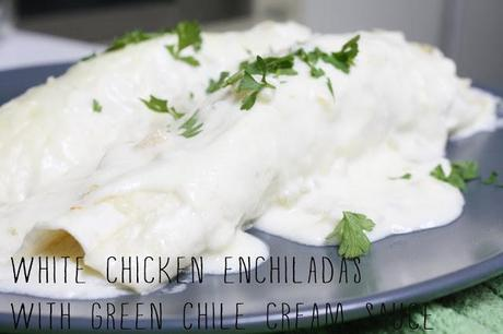 on white chicken enchiladas...