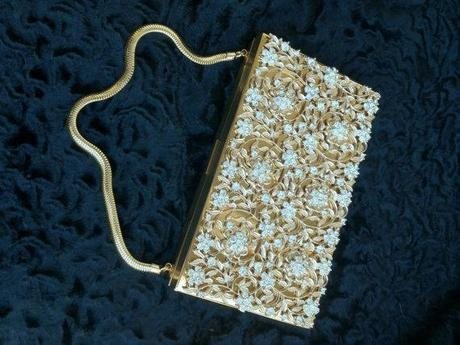1920's DANCE PURSE by EVANS - never used - price tag still on - pristine condition - gold - jeweled