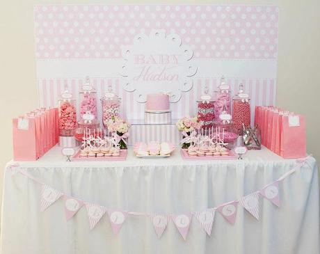pink candy buffet baby shower pink and white baby shower by life is