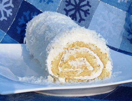Coconut Roulade with Rum Buttercream for National Cake Day