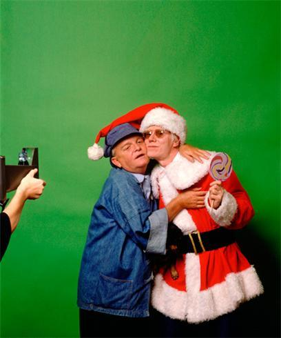 Where one could find a scarier Christmas photo, I do not know. (Andy Warhol and Truman Capote photographed by Mick Rock.)