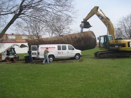 Oil tank being removed2