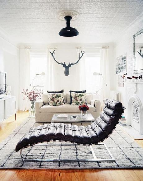 Brooklyn apt living room, white, floral, fur, antlers, floor lamps, chaise, Michelle Adams, Lonny Nov12