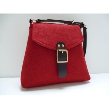 Red Harris Tweed Shoulder Bag